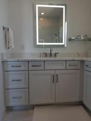 Oceanside Cabinets Bathroom Vanity Cabinet  Melbourne Beach, Florida with lighted mirror