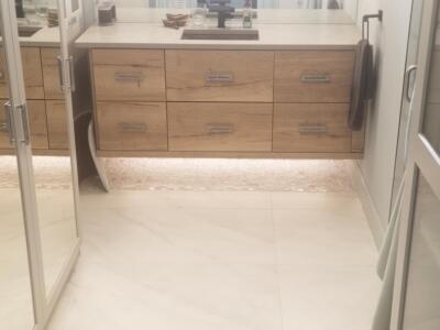 Oceanside Cabinets Palm Bay Bathroom Vanity  . ..Installation at Silva Home